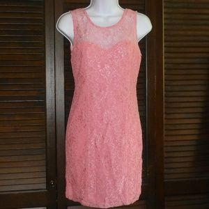 FOREVER 21 Pink Short Lace Sheath Dress, M, NWT